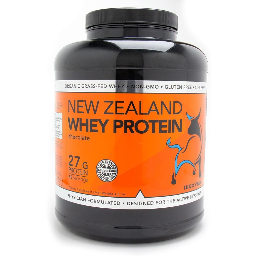 DIOXYME NEW ZEALAND GRASS FED WHEY PROTEIN - Premium 100% Isolate and Concentrate Proteins - Easy to Mix Powder in a Full 5 LB Tub, Aids Athletic Performance (Chocolate)
