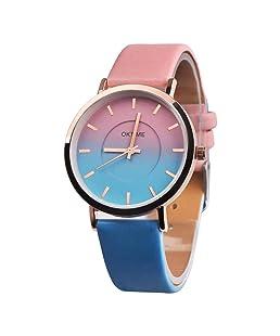 Siviki Retro Rainbow Design PU Leather Strap Wrist Watches for Women (D)