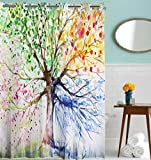 Tree Shower Curtain Hookless Shower Curtain, Goodbath Four Season Color Tree of Life Design Waterproof Mildew Resistant Bathroom Curtains,72 x 72 Inch, Colorful
