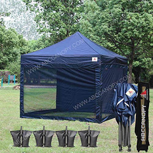 Canopy Tent Color (ABCCANOPY (18+colors) 10x10 Easy Pop up Commmercial Canopy Tent with Matching White Mesh Walls Bonus Rolly Carry Bag and 4x Weight Bag (navy blue))