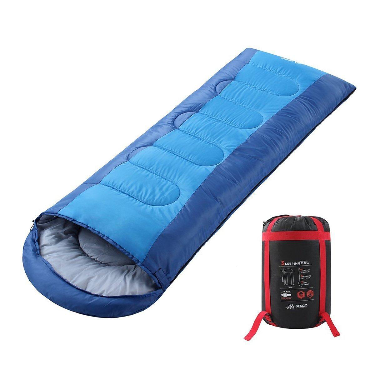 Semoo Saco de Dormir Impermeable, de 10-22ºC, 190T, Encapuchado para Adultos, con Bolsa de compresión (Azul): Amazon.es: Deportes y aire libre