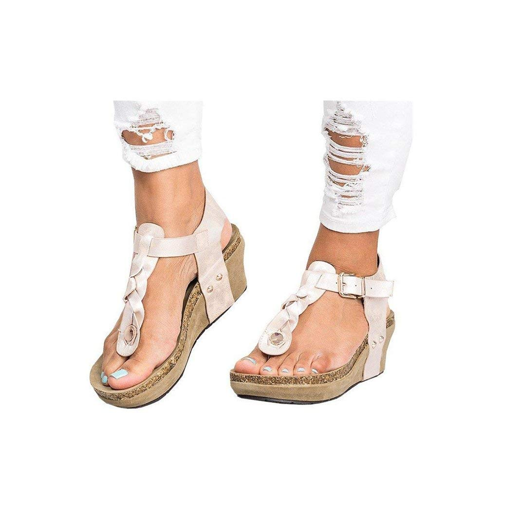 Women's Aditi Low Wedge Dress Sandals Casual Flip Flops Buckle Strap Wedges Sandals Platforms Shoes Beige by NIKAIRALEY Shoes