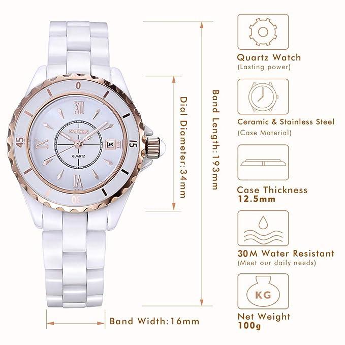 NAKZEN Reloj analógico de Cuarzo para Mujer Blanco Reloj de Moda Reloj Impermeable de Acero Inoxidable con Correa de cerámica y Ventana de Fecha: Amazon.es: ...