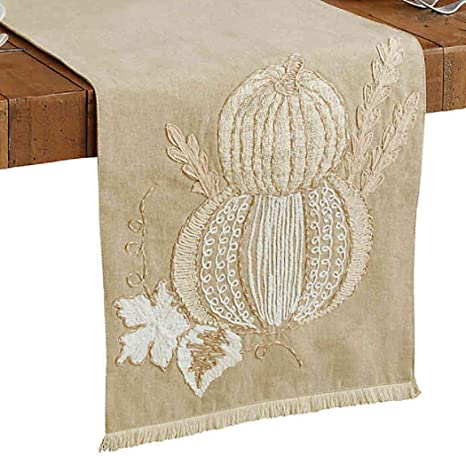 Amazon Com Bed Bath And Beyond Gathered Pumpkin 72 Inch Table Runner In Natural Home Kitchen