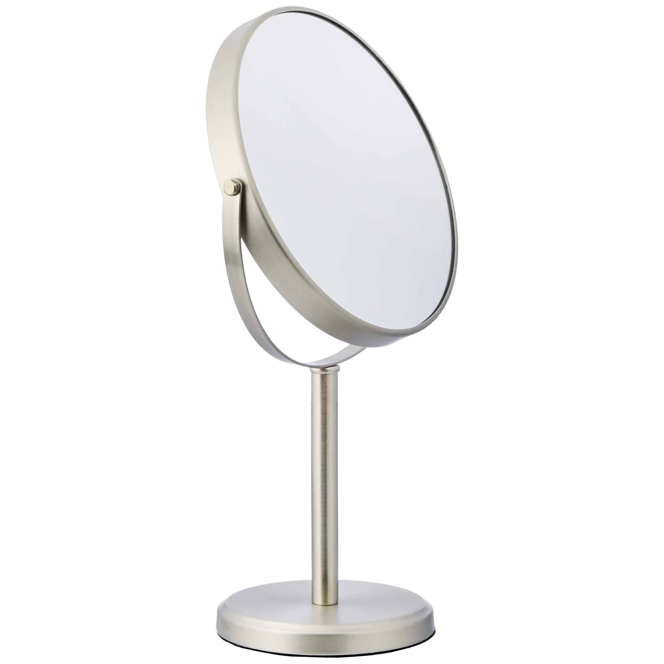 AmazonBasics Modern Dual Sided Magnification Makeup Vanity Mirror, Tall, Nickel