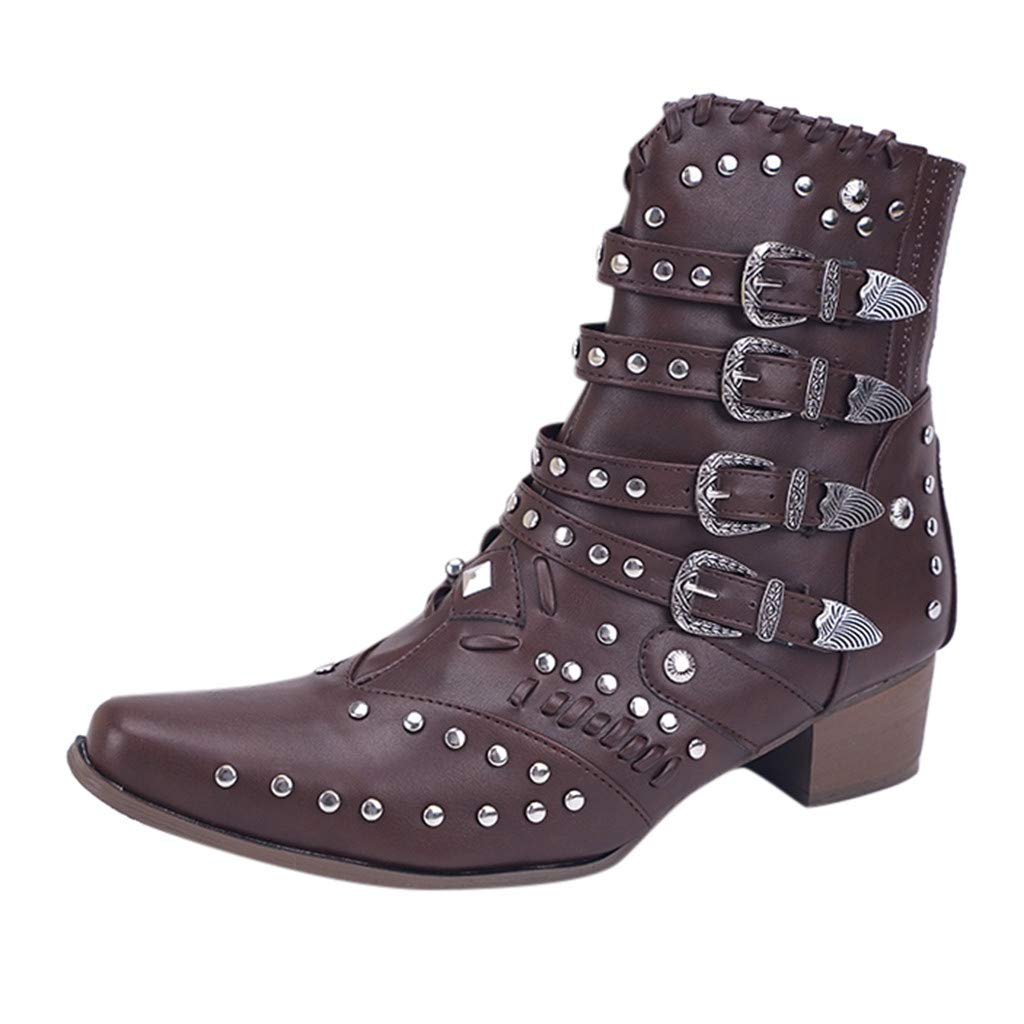 Leaf2you Ankle Boots for Womens Metal Buckle Strap Low Heels Ankle Rivets Studded Booties with Side Zipper by Leaf2you