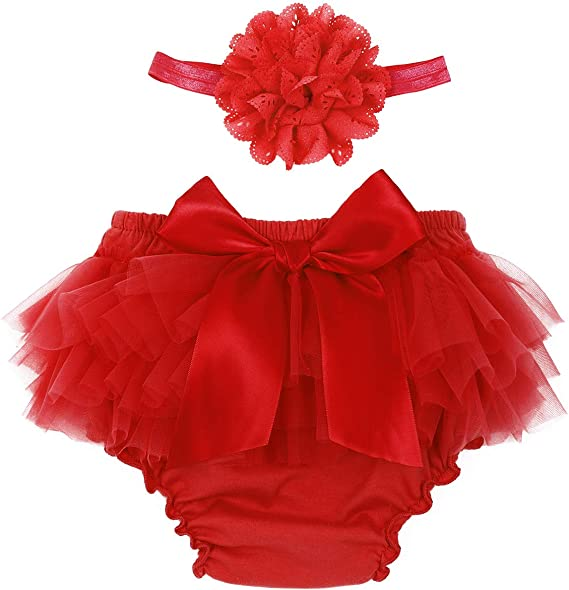 JEATHA Infant Baby Girls 2PCS Tulle Ruffle Bowknot Diaper Cover Bloomer Artistic Photo Shoot with Flower Headband Set