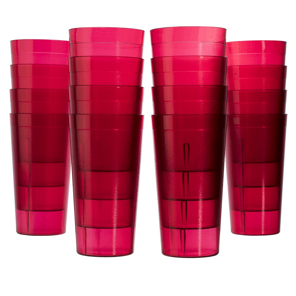 Cafe 20-ounce Break-Resistant Plastic Restaurant-Style Beverage Tumblers   Set of 16 Red