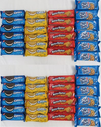 Nabisco Variety Pack 12 Packs Each of Oreo Smile 2.0 Oz , Nutter Butter 1.9oz, Chips Ahoy1.4oz and Golden Oreo 1.8oz Total of 48 Packs Sms-18