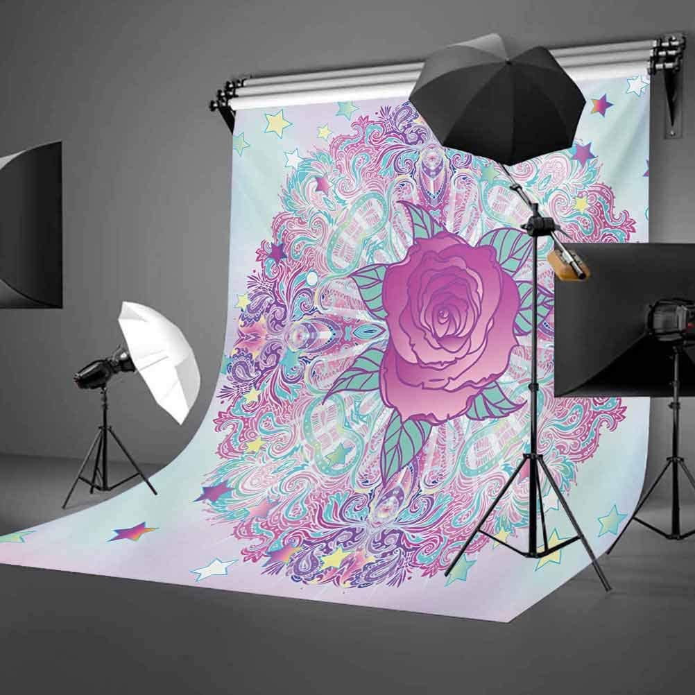 Indie 6.5x10 FT Photography Backdrop Psychedelic Inspired Round Rose Figure 80s 90s Retro Vintage Vibrant Background for Photography Kids Adult Photo Booth Video Shoot Vinyl Studio Props