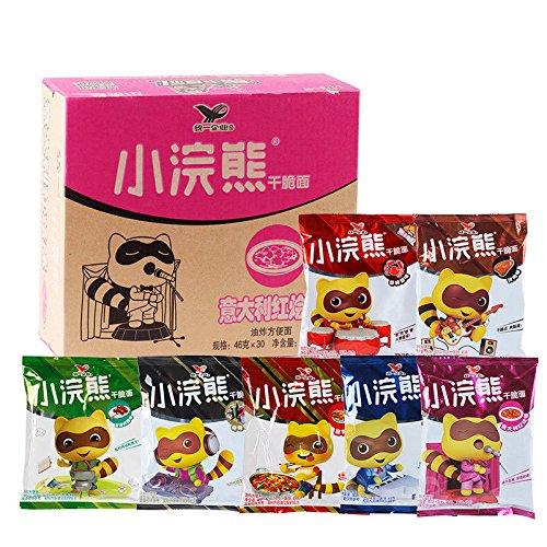 China food co. LTD. 整箱批发 80后的回忆Tongyi China Snacks(统一小浣熊 干脆面 30袋{混合味拼}Crispy Instant Noodles)捏碎面 干吃面 by China food co. LTD.
