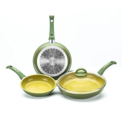 olivilla Illa aluminio 4 piezas Pan Set 3 Sartenes 1 tapa de cristal inducción