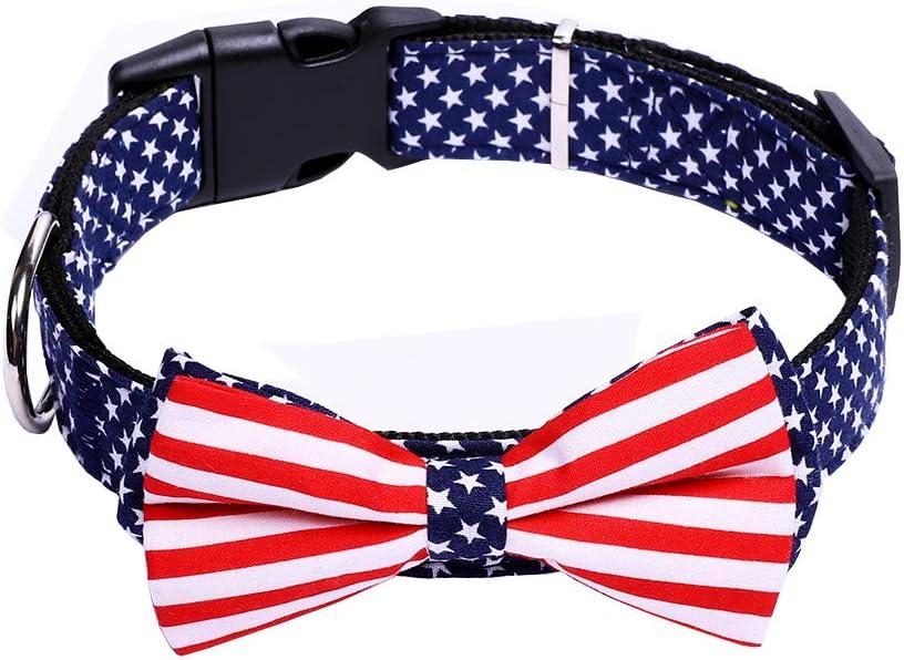 YAKA Collar de Perro con Pajarita Bandera Estadounidense, tamaño Ajustable para Perros pequeños/medianos/Grandes: Amazon.es: Productos para mascotas