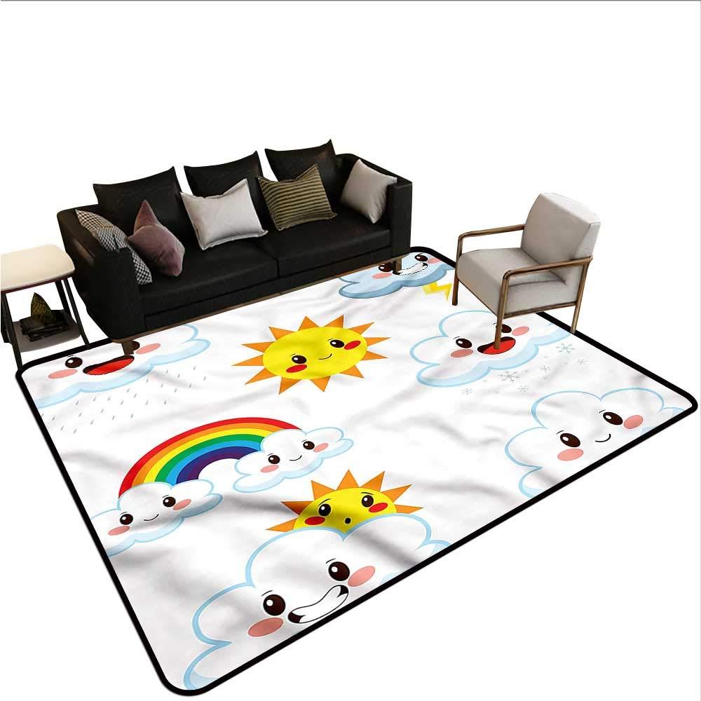 "Kawaii,Floor Mat for Toilet Non Slip 80""x 120"" Sun Rain and Rainbow Cartoon Cheap Rugs 61e2CjFL%2BuL"