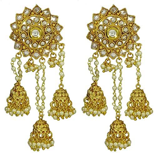 Matra Goldtone Indian Women Dangle Jhumka Jhumki Earring Set Traditional New Jewellery