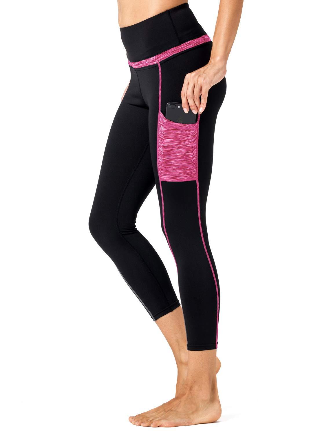 【お気にいる】 ChiFun Legging-black メッシュ アスレチック ウォークアウト ヨガ M アクティブシャツ レディーススポーツウェア アスレチック ランニングトップ B07H5CGGQK Capri Legging-black & Fushcia M (Waist 27