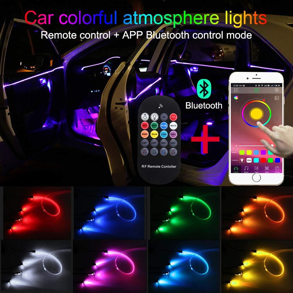 DC12V Stimmungslicht 1 Set zur Autodekoration TABEN Neonleuchtleisten f/ür das Auto mit 8 Farben Innenraumbeleuchtung 4-teiliges Set wasserdicht