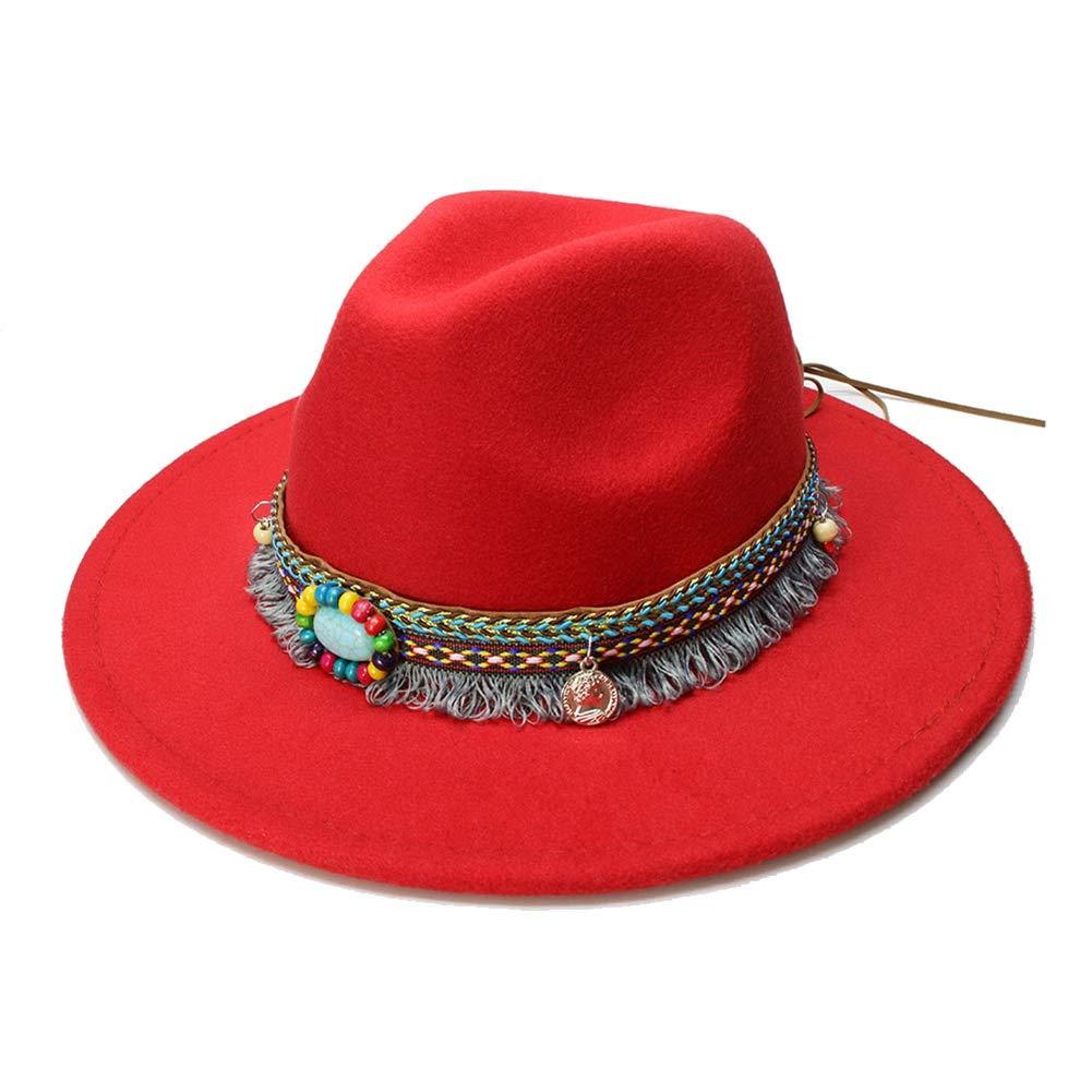 Unisex Retro Fedora Vintage Wide Brim Cap Jazz Bowler Hat Tassel Turquoise Band