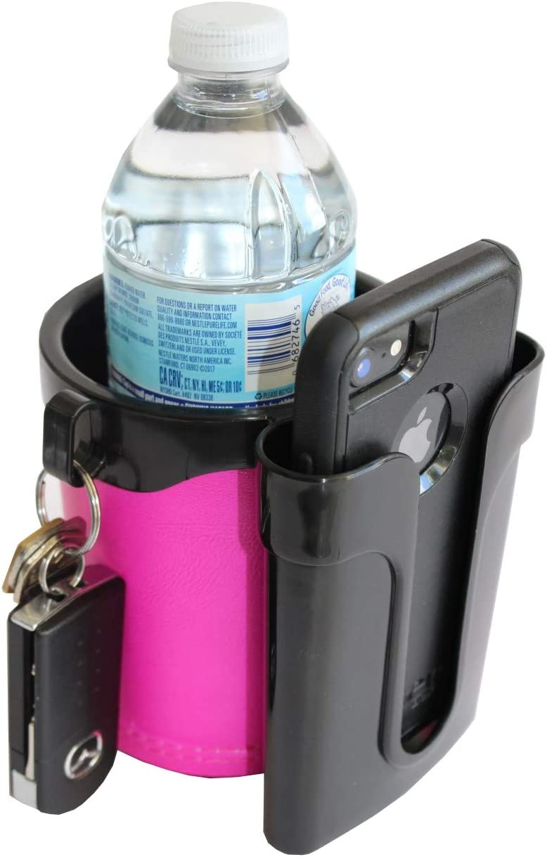 BikeCupHolder - Pink - Cell Phone - Keys - Holder Combo for Beach Cruiser - Commuter Bike