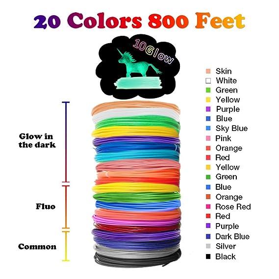 3D Pen Filament Refills PLA - 20 Colors 800 Feet(10 Glow, 6 Fluo, 4 Common) Bonus 250 Stencil eBook - Dikale 3D Pen Filament 1.75mm for Tecboss Nulaxy DigiHero Canbor 3D Pen etc