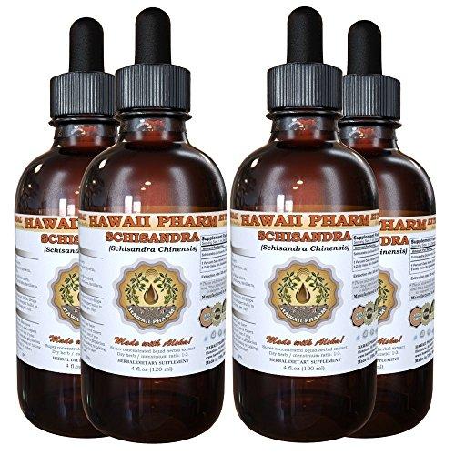 Schisandra Liquid Extract, Organic Schisandra (Schisandra Chinensis) Tincture, Herbal Supplement, Hawaii Pharm, Made in USA, 4x4 fl.oz by HawaiiPharm