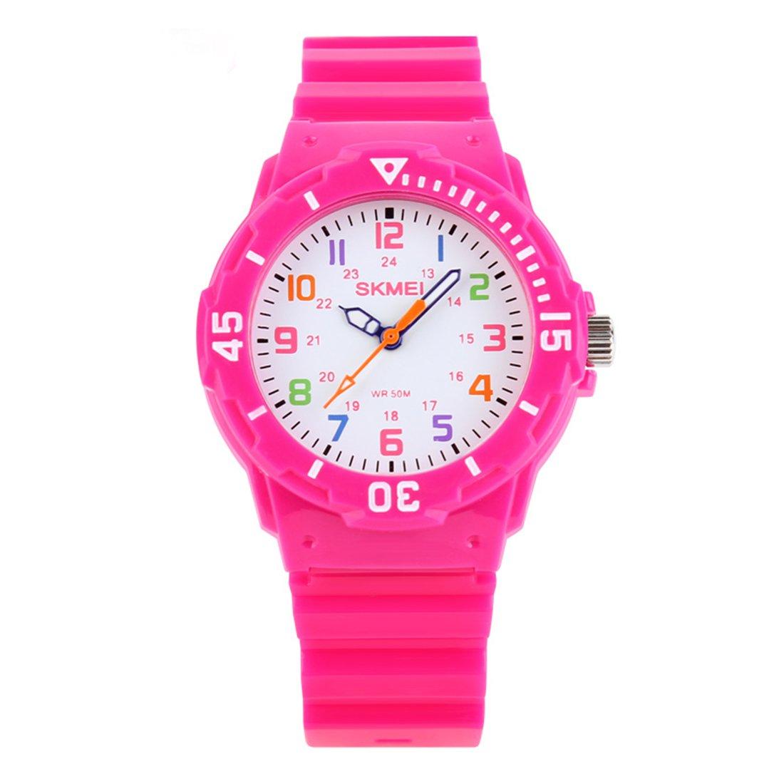 Kids 50M Waterproof Watch,PU Band Wrist Watch for Boys Girls, Pink