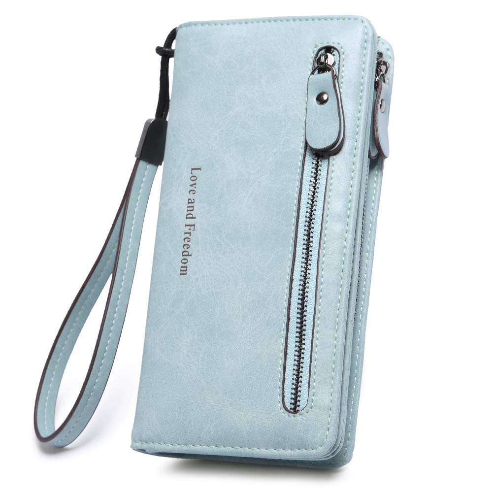 Women Wallets Leather Ladies Bifold Clutch Long Checkbook Credit Card Holder Organizer with Wristlet blue