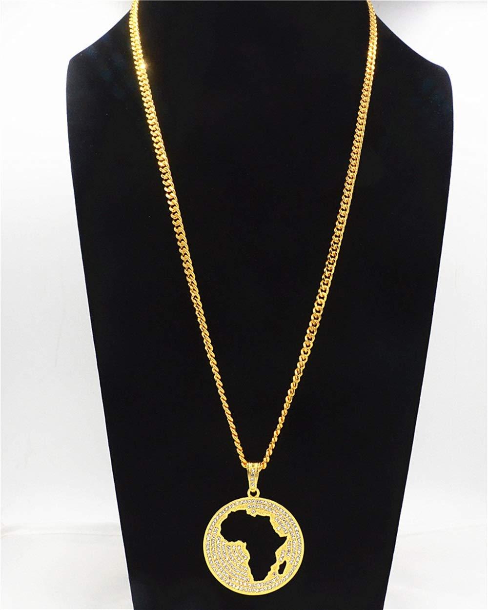 Visic Elegant Necklace Creative Hollow Africa Map Pendant Hiphop Necklace