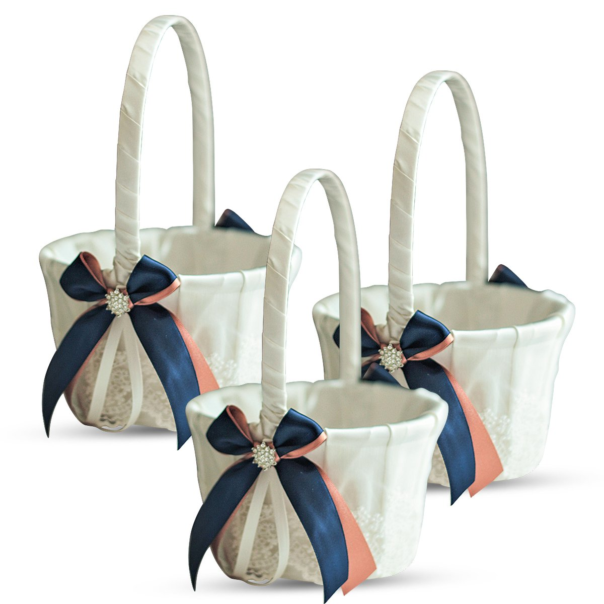 Alex Emotions Ivory Ring Bearer Pillow and Basket Set | Lace Collection | Flower Girl & Welcome Basket for Guest | Handmade Wedding Baskets & Pillows (Navy Rose Gold)