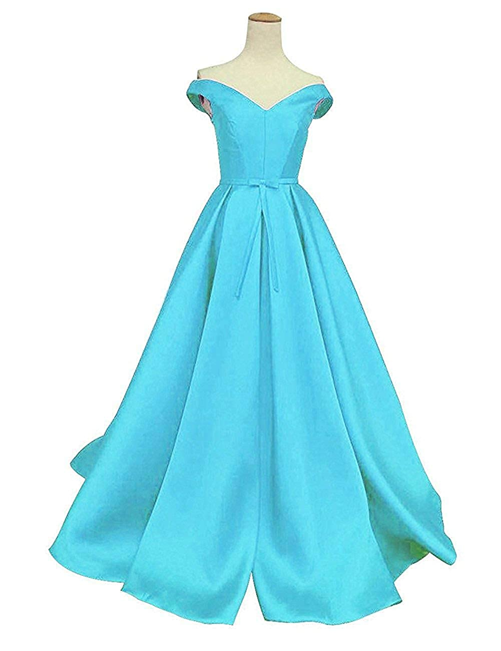 bluee DreamSkirts Women's Off The Shoulder ALine Evening Ball Gowns with Bow