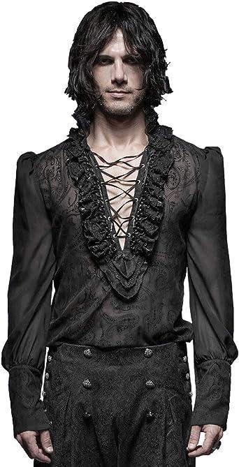 Camisa Medieval renacentista para Hombre Camisetas de Manga Larga: Amazon.es: Ropa y accesorios