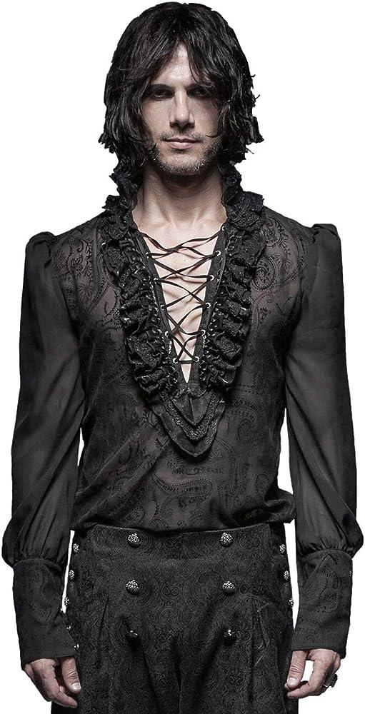 Punk Rave Camiseta de gótico para Hombre, Color Negro, Transparente, Retro, Gasa Negro XXXL: Amazon.es: Ropa y accesorios