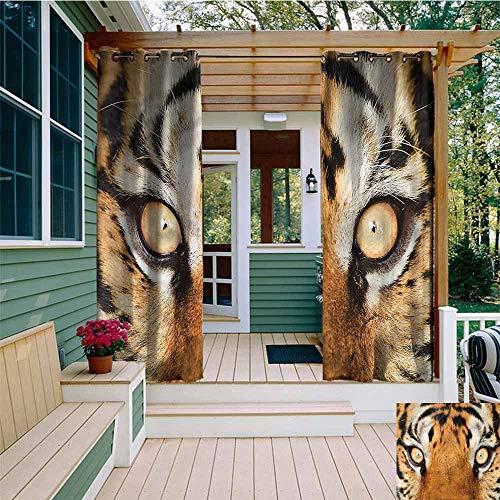 (Beihai1Sun Curtains for Bedroom,Safari Tiger Eyes Wild,Waterproof Patio Door Panel,W84x96L)