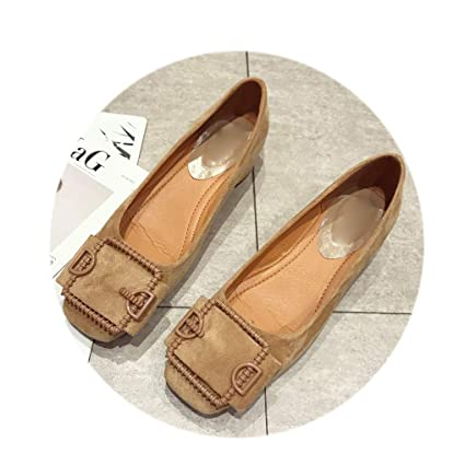 6117d0aa6688c Amazon.com: August Jim Women Red Flats Shoes Round Toe Slip on ...