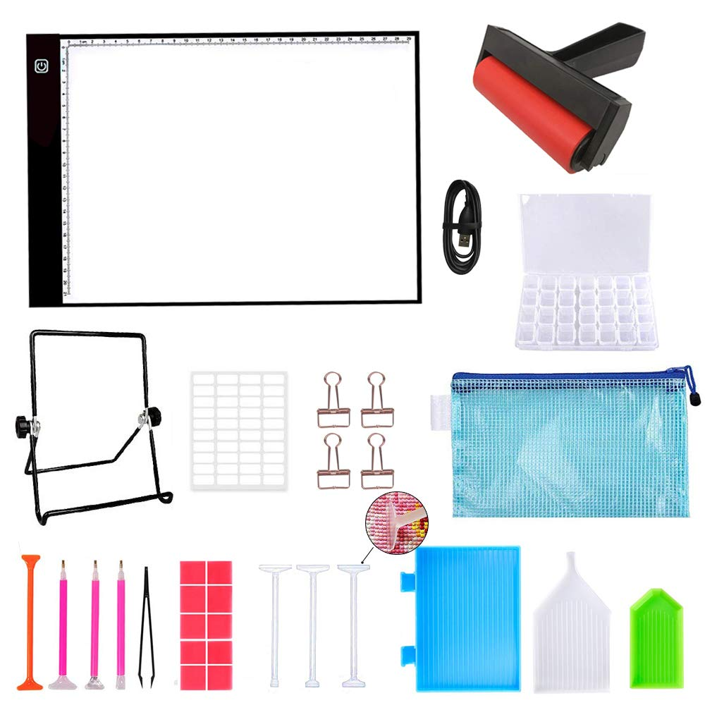 A4 Diamond Painting LED Light Pad Board, Ultrathin & Dimmable USB Power Light Pad Kit, 32 Piece Tool Kit,Perfect for Full Drill & Partial Drill 5D Diamond Painting with Aluminium Alloy Stand and Clips by Suptikes