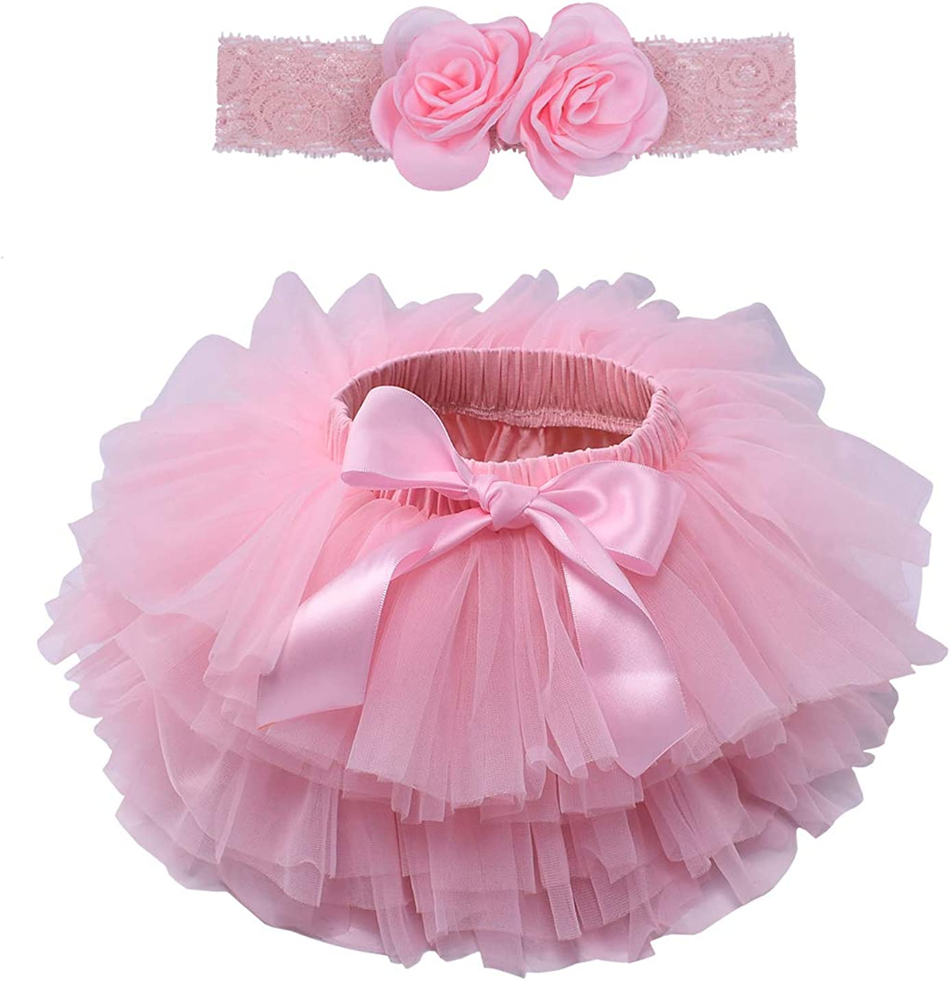 Baby Girls Rainbow Ruffle Bottom Tutu Bloomers Toddler Tulle Skirt and Headband Set 0 to 24 Months