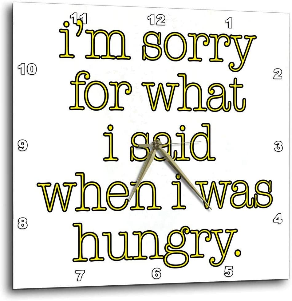 3dRose dpp_171963_1 I'm Sorry for What I Said When I Was Hungry. Yellow. Food Lover-Wall Clock, 10 by 10-Inch