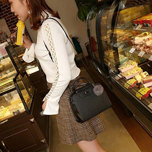 Espeedy Moda Mujer Messenger Bag Bolsa de piel de felpa Color sólido Zipped semicírculo Handle bolsos de hombro bolso de las señoras rosa