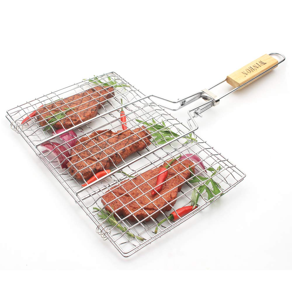 HUAXIONG BBQ Basket Barbecue Basket Grilling Basket for Fish,Vegetables, Steak,Shrimp, Chops and Many Other Food BBQ Tool Wooden Handle