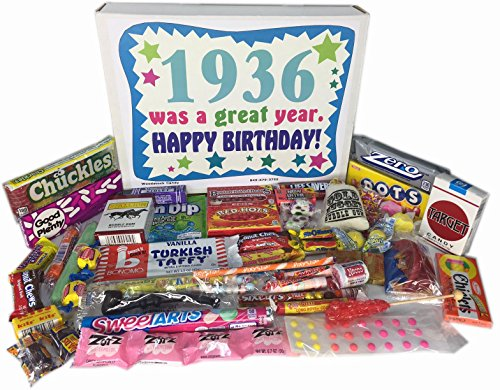 Woodstock Candy 82nd Birthday Gift Box of Nostalgic Retro Candy from Childhood for an 82 Year Old Man or Woman Born in 1936