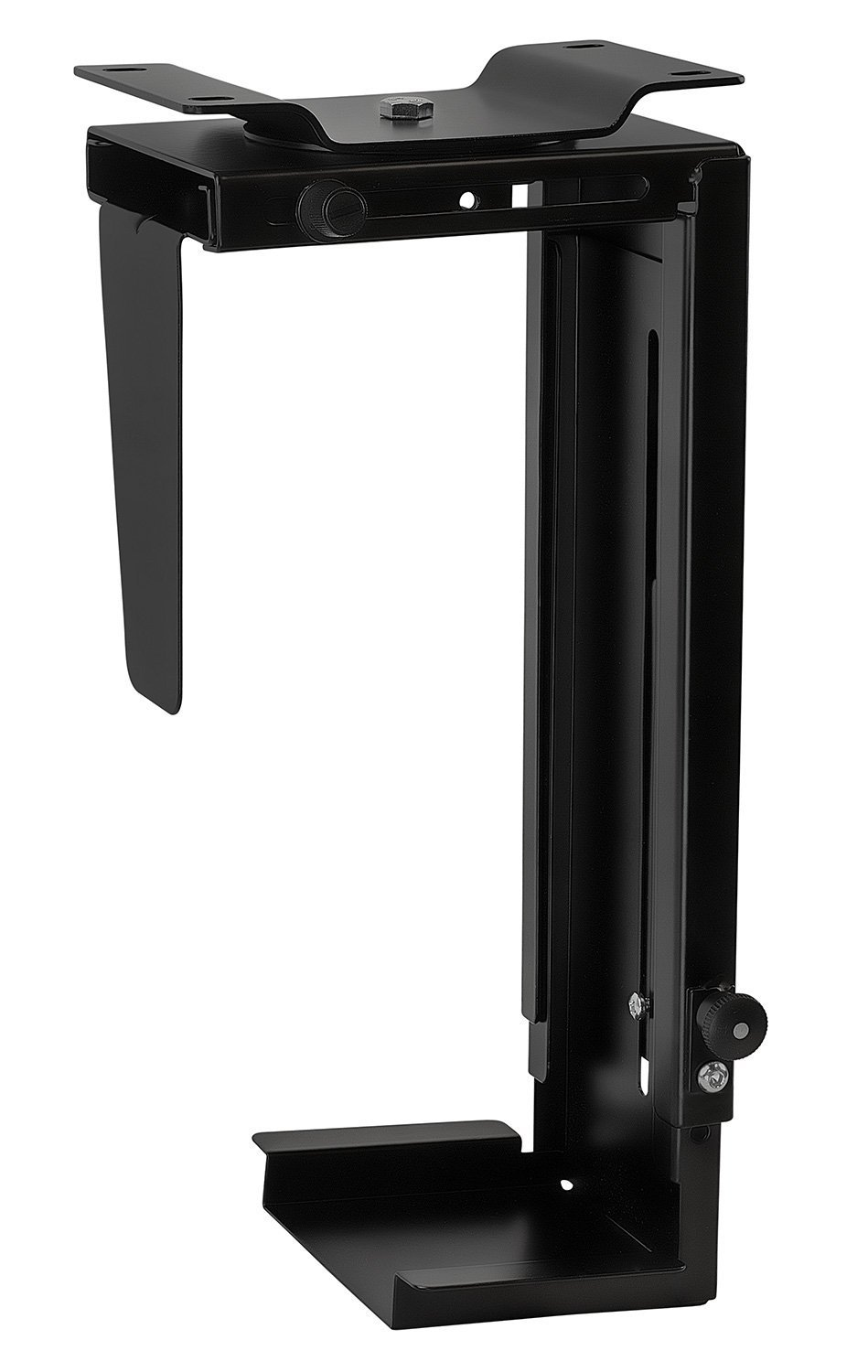 CPU Under Desk Mount Bracket - Computer Tower Wall and Under Counter Holder, 360 Degree Swivel Adjustable Height and Width Wall-Mountable