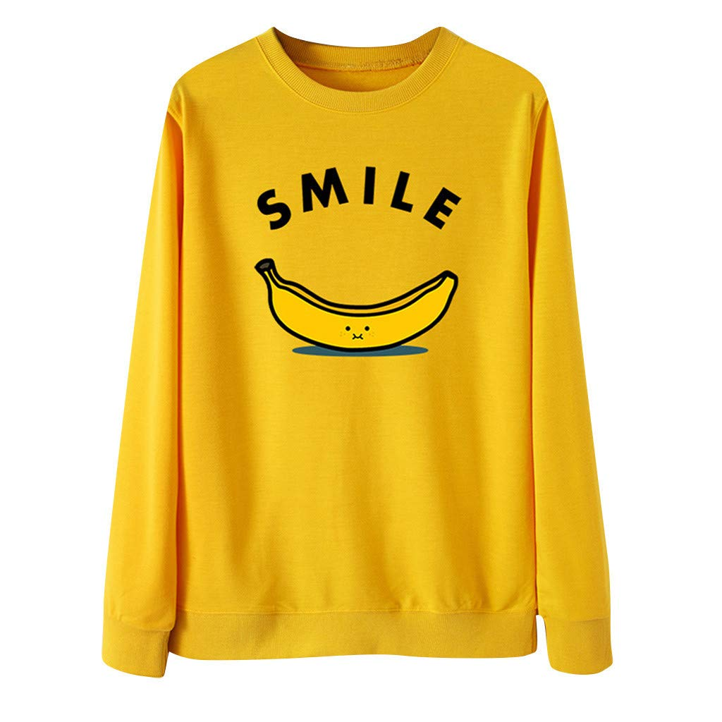 Women Cute Banana Print Long Sleeves Pullover O-Neck Sweatshirt Blouse Tops Yellow by Badymin