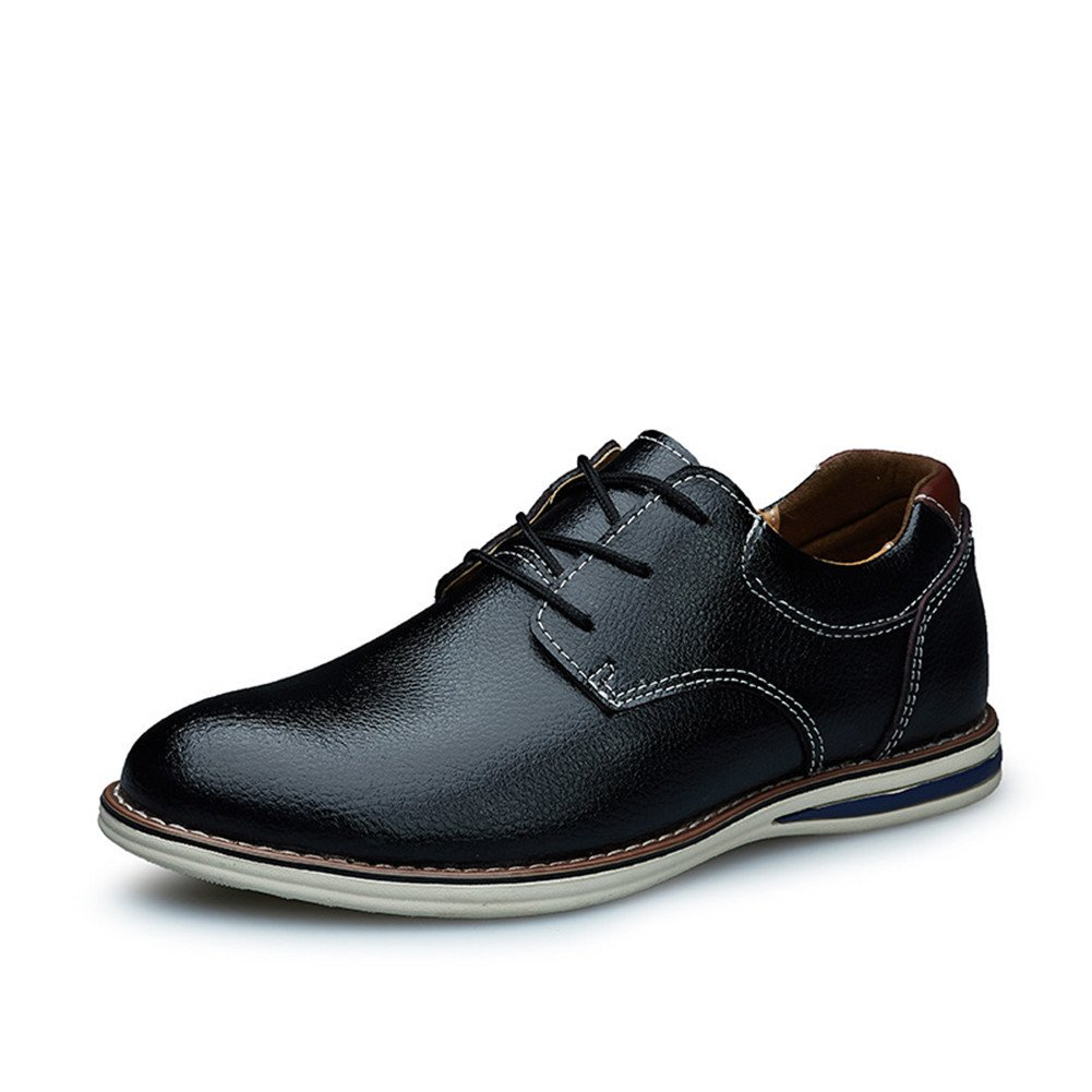 Maxu Mens Leather Lace Up Leisure Oxford Shoes Black