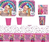 JoJo Siwa Party Supply Kit for 16 Guests - Plates, Cups, Napkins, Tablecover (Original Version)