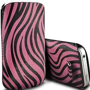 ONX3 Huawei Ascend Y600 PU Leather Slip cuerda de tracción Zebra protector en la bolsa de la liberación rápida (Rosa y Negro)