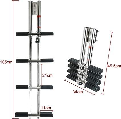 Boat Marine Dual Vertical Telescoping 4 Step Stainless Steel Sport Dive Ladder