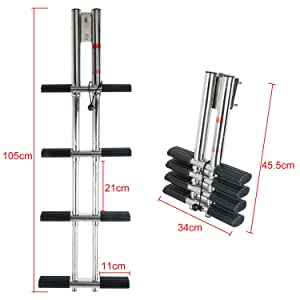 """DasMarine Heavy Duty 4 Steps Boat Marine Sport/Diver Ladder 316 Stainless Steel Dual Vertical Telescoping Tube with 2.75"""" Transom Mounting Extension Shim (4 Step Ladder)"""