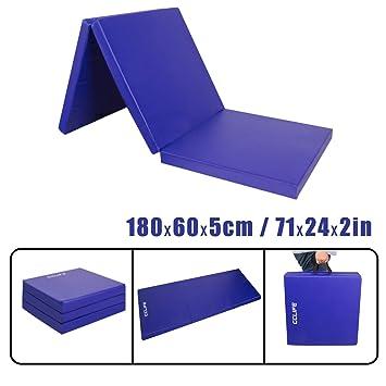 CCLIFE Colchoneta Plegable de Espuma para Gimnasia Yoga Deportiva Yoga estrilla Triple Plegable 180/60/5cm