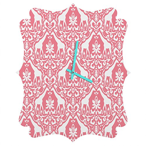 Deny Designs Jacqueline Maldonado, Giraffe Damask Salmon Pink, Quatrefoil Clock, Medium by Deny Designs