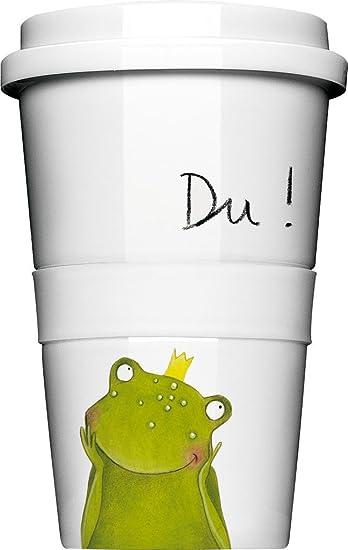 Coffee-to-go-Becher aus Porzellan mit hochwertigem Kunststoffdeckel ...